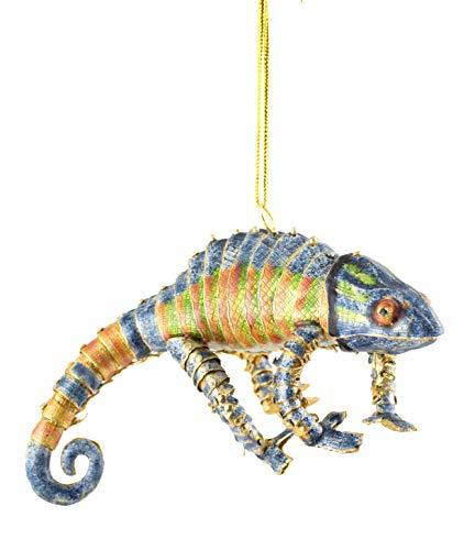 Value Arts Christmas Ornaments, Handmade Cloisonne Articulate Blue Chameleon Ornament