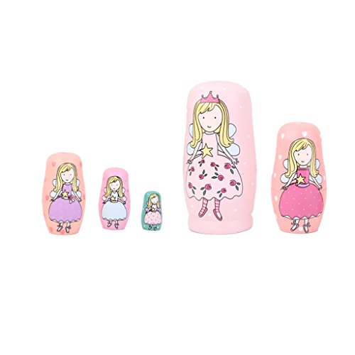 5pcs Hand Painted Pink Angel Wooden Russian Nesting Dolls - 2