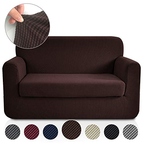 RHF 2 Separate Pieces Loveseat Cover, Slipcovers for Couches and Loveseats with Separate Cushion Cover Jacquard High Stretch Loveseat Slipcover(Loveseat: Chocolate)