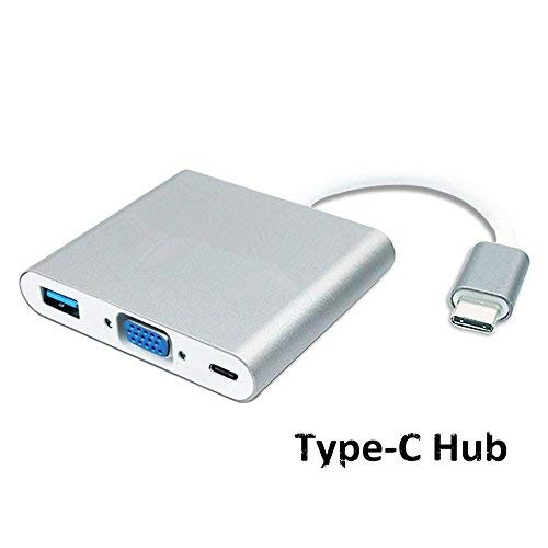 USB Type C to VGA Adapter Multiport USB3 0 & Type-C & VAG Port Hub Type-C  Female with Video Converter and Charging for MacBook, ChromeBook Pixel