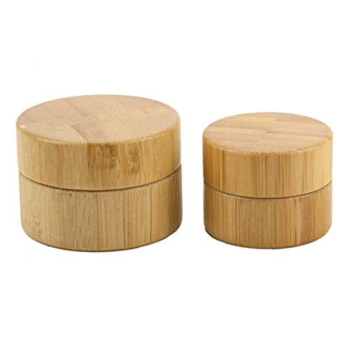 (Set of 2 Refillable Natural Bamboo Jars - 5g&10g Small Travel Cream Jars Empty Cosmetic Container for DIY Cosmetic Jars & BPA Free)