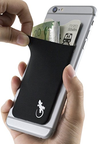 Cell Phone Wallet - RFID Blocking Card Sleeve - Credit card holder - with Slim fit for iPhones and Android - Xtra Tall Lycra Spandex Pocket in BLACK