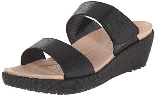 Crocs Women's A-Leigh 2 Strap Mini W Wedge Sandal, Black/Black, 8 M US by Crocs