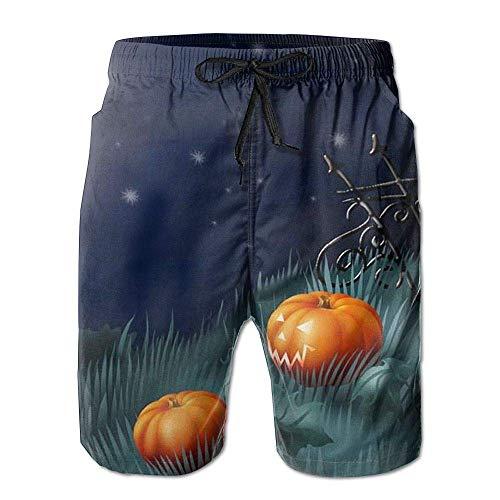 Beach Yoga Pants, Halloween Jack O Lantern Moon Miami Cute Shorts for Men Boys, Outdoor Short Pants Beach Accessories, White -