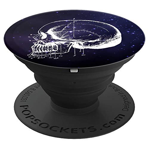 White Anatomical Skull Dentist Drawing Black Base Galaxy - PopSockets Grip and Stand for Phones and Tablets