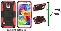 Samsung Galaxy S5 Holster Case - Heavy Duty Dual Shield Hybrid Protector Case with KickStand and Swivel Belt Clip Holster + Car Charger + 1 of New Metal Stylus Touch Screen Pen (RED / BLACK)