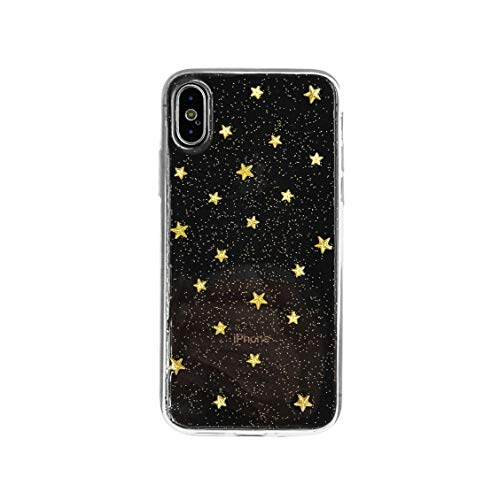 HolaStar for iPhone Xs Max Case, Golden 3D Metal Star Luxury Handmade Phone Case Sparkle Gold Glitter Holographic Powder Ultra Lightweight Stylish Iridescent Flexible Soft Protective Fashion Cover