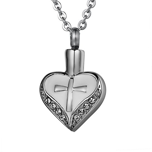 COCO Park Clear Crystal Love Heart Cross Urn Pendant Crem...