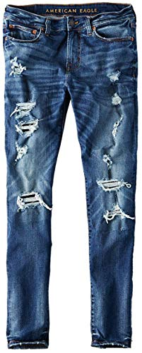 American Eagle Mens 4513857 Ne(X) t Level Destroyed Skinny Leg Jean Medium Bright Indigo Wash (32x32)