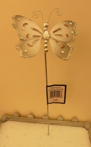 Pms 10cm Silver Butterfly Pick Decoration Flowers/christmas/wedding/home (pm231)
