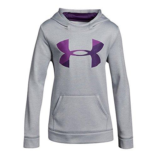 Armour Fleece Big Logo Novelty Hoodie,Overcast Gray /Indulge, Youth X-Small ()