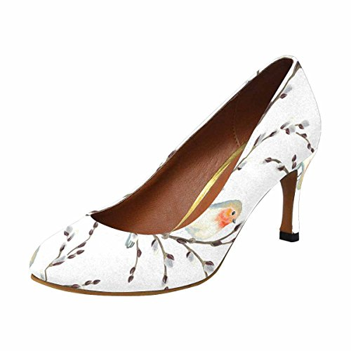 Interestprint Mujeres Classic Fashion High Heel Dress Zapatos De Bomba Patrón De Willow Branches And Birds Robin