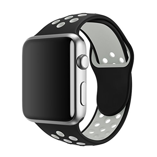 SMEECO Compatible with Apple Watch Band 42mm 44mm,Soft Breathable Silicone Strap Replacement iWatch Bands for Apple Watch Series 3, Series 2, Series 1 Sport Nike (42mm/44mm M/L)