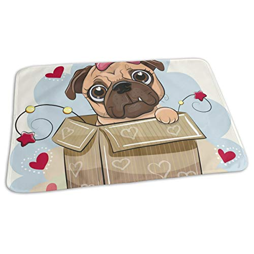 Whages Personalized Lovely Baby Reusable Waterproof Portable Bulldog Lady in The Box Changing Pad Home Travel 27.5