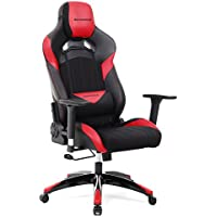 SONGMICS Gaming Chair Racing Sport Chair High-back Office Chair with the Headrest and Lumbar Support Red URCG23R