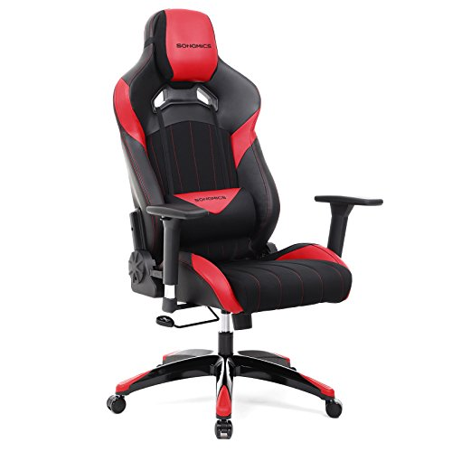 SONGMICS Original Design Gaming Chair Luxurious Racing Sport Chair High-Back Office Chair with 3D Armrests, Headrest and Lumbar Support Red URCG23R- For Sale