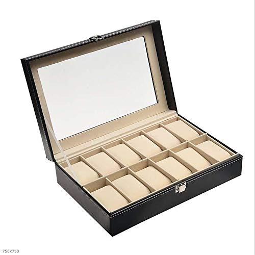 Bracelet To Faux Tray I Jewellery Fly Freely Slots Case Watch Black 12 Storage Leather Glass Box Want Lid Display L4R3jc5Aq