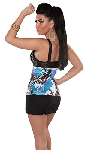 Lixano - Camiseta sin mangas - Floral - Sin mangas - para mujer Azul-Turquesa