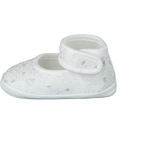 Omnia-Baby Festliche Babyschuhe Taufschuhe Lauflernschuhe Kinderschuhe, Satin, Spitzenstoff Weiß-Spitzenstoff