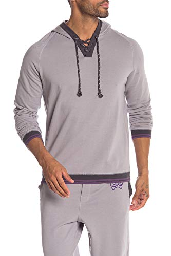 Psycho Bunny Men's Brushed Back Terry Hoodie Sweatshirt (Medium, Pewter)