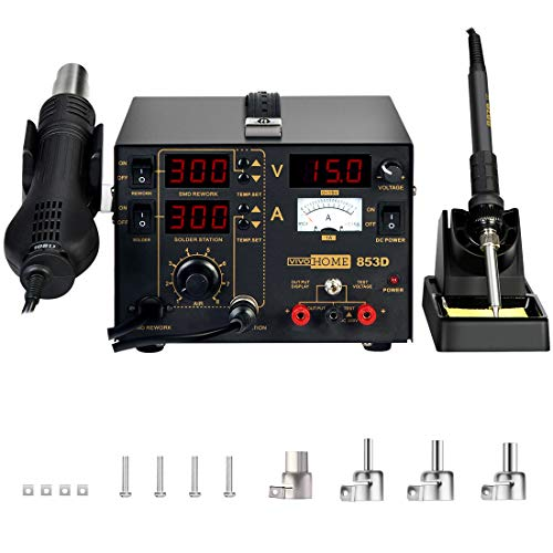 affordable VIVOHOME 3 in 1 853D SMD Soldering Station Rework Station Hot Air Heat Gun with DC Power Supply 110V