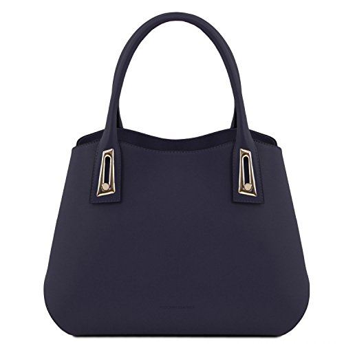 Borsa Flora Leather a pelle mano Tuscany Blu Cognac Scuro in aEwqWda5