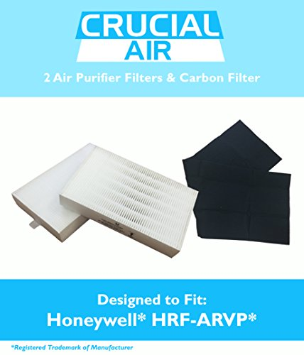 2 Honeywell 'R' Air Purifier Filter & 1 'A' Carbon Filter Kit Fits HPA090 series, HPA100 series & HPA300 series, Compare to Part # HRF-ARVP, Designed & Engineered by Crucial Air (Filter Type Hepa R)