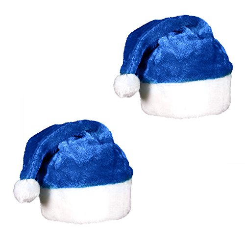 (2 Pack) Blue Plush Holiday Christmas Santa Hats Blue White Plush Stocking
