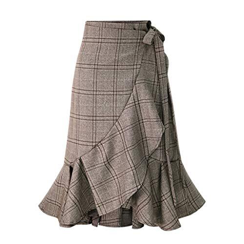 TIFENNY Lotus Leaf Fish Tail Skirts for Women Casual High Elastic Waist Plaid Maxi Long Pleated Skirt Bandage Dress Brown