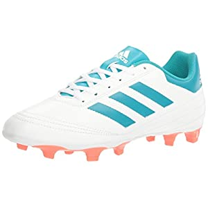 adidas Women's Goletto VI FG W Soccer Shoe, White/Energy Blue Easy Coral S, 8.5 M US