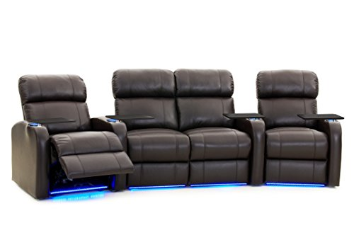 Octane Seating Diesel XS950 Theater Seats Brown Top-Grain Leather - Power Recline - Space Saving Design - Straight Row of 4 Seats, Curved with Middle Loveseat