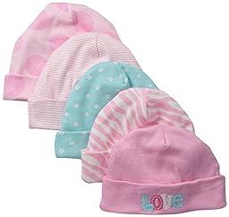 Gerber Baby-Girls Newborn 5 Pack Caps-Polka Dots, Pink, 0-6 Months