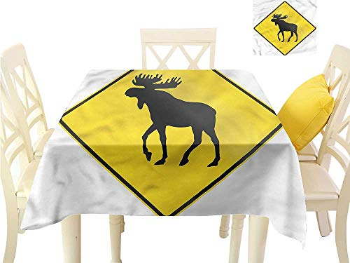 WilliamsDecor Dinning Table Covers Moose,Elk Crossing Traffic Sign Dinning Table Covers W 36