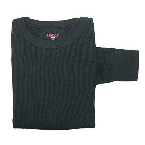 Hanes Women's Thermal Crew Neck Top, Small, Black