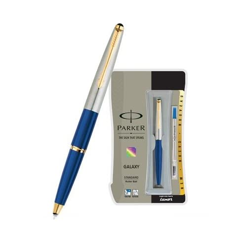 Parker Galaxy Stainless Steel Gold Trim Roller Ball Pen for cheap