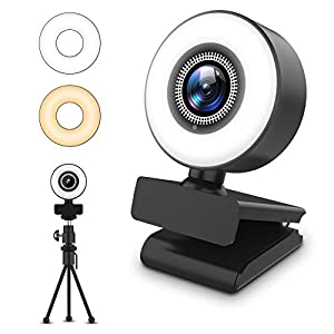Flashandfocus.com 411T0qwYTOL._SS300_ Streaming HD Webcam, ITSHINY 1080P Webcam with Ring Light & Dual Microphone, USB Adjustable Brightness Web Camera for…