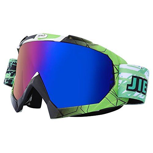 JIEPOLLY Motocross Goggles,Dirt Bike OTG Riding Racing ATV MX Goggle for Men & Youth(Green & Black)