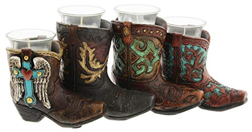 Joy of Giving Resin Cowboy Boots Candle Holder with 4 -