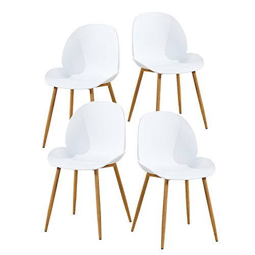GreenForest Dining Chairs Metal Legs Modern Kitchen Living Room Side Chair with Large Moon Shape Seat White,Set of 4