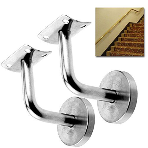 2 x Stainless Steel Handrail Stair Wall Brackets Hand Bracket Bannister (Ladder Wall Brackets)
