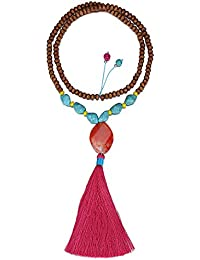 eManco Statement Necklaces Tassel Long Pendant Turquoise Beads Decorations Jewellery for Women PKabJD