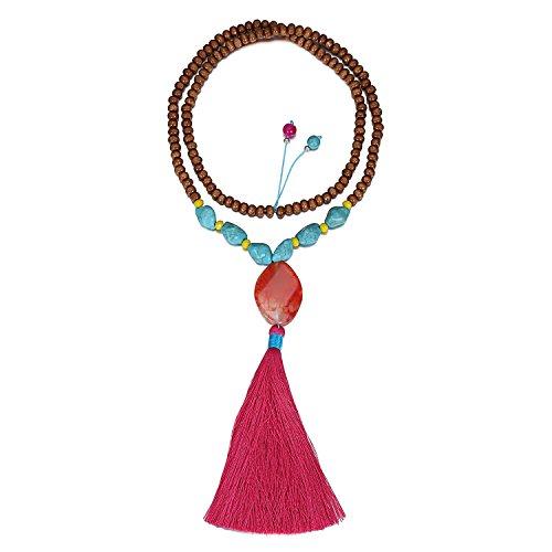 eManco Hippie Long Brown Wood Bead Stone Turquoise Tassel Pendant Necklace Mala for Women Fashion Jewelry