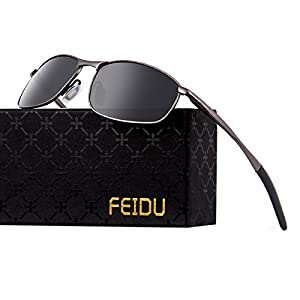FEIDU Polarized Sport Mens Sunglasses HD Lens Metal Frame Driving Shades FD 9005 (Black /Gun, 2.24)