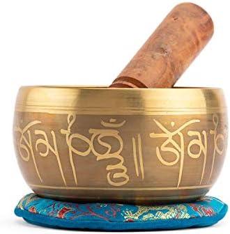 Cuenco tibetano indio con decoración, incluye base y mazo de madera + caja de regalo: Amazon.es: Salud y cuidado personal
