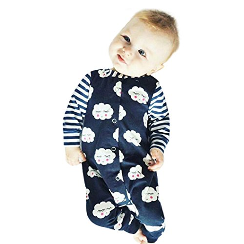 Omiky® Kleinkind Neugeborene Baby Jungen Mädchen Schüchtern Wolken Spielanzug Jumpsuit Outfits Kleidung Marine
