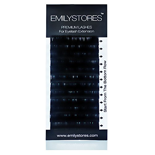 EMILYSTORES Eyelash Extensions 0.20mm Thickness C Curl Length 17mm Silk Mink Fake Eye Lashes In One Tray