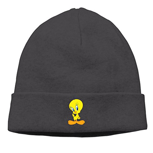 deto-menswomens-tweety-bird-patch-beanie-runningblack-caps-hats
