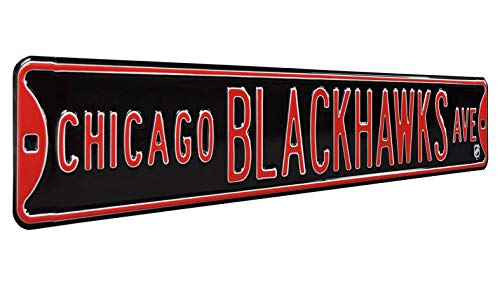 Sign Blackhawks Street Chicago - Authentic Street Signs 28105 NHL Chicago Blackhawks Ave, Heavy Duty, Metal Street Sign Wall Decor, 36
