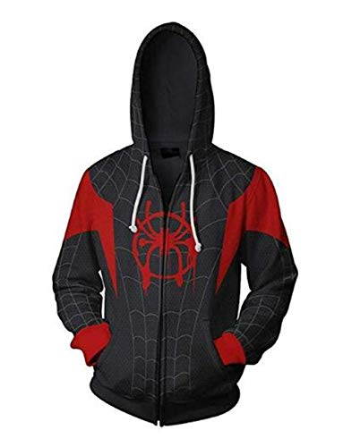 HAcostumes Cosplay Unisex Superhero Cosplay Costume Cotton Fleece Hoodie Jacket with Zipper, Black-a, Adult X-Large