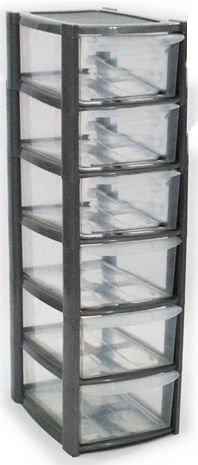 6 Drawer Mini Small Plastic Storage Tower Silver Viss